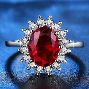 18K WHITE GOLD FIRE RED RUBY DAZZLING DIAMOND RING